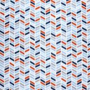Bombaž, poplin, geometrijski, 20804-2, modra