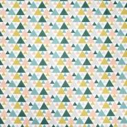 Bombaž, poplin, geometrijski, 20855-1, zeleno rumena