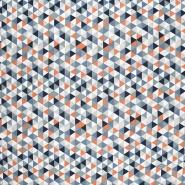Bombaž, poplin, geometrijski, 20861-3, modra
