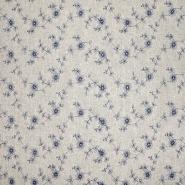 Leinen, Viskose, Stickerei, 20558-008, blau