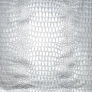 Kunstleder Krokodil, 20989-0281, silbern