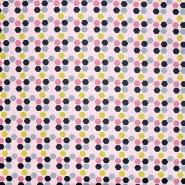 Pamuk, popelin, geometrijski, 21084-001, ružičasta