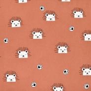 Gewebe, Baumwolle, Tiere, 21117-454, ziegelrot