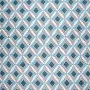 Dekostoff, Jacquard, geometrisch, 21313-42, türkis