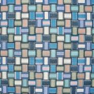 Dekostoff, Jacquard, geometrisch, 21322-48, blau - Bema Stoffe