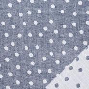 Musselin, beidseitig, Punkte, 21404-007, blau