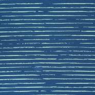 Jersey, bombaž, črte, 21432-17, modro zelena