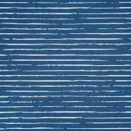 Jersey, Baumwolle, Streifen, 21432-42, blau-weiß