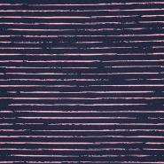 Jersey, bombaž, črte, 21432-2, temno modra