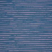 Jersey, Baumwolle, Streifen, 21432-14, blau-rosa