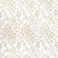 Spitze, elastisch, floral, 21501, gold-weiß