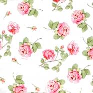 Jersey, Baumwolle, floral, 21497-1, weiß