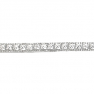 Trak, kristali, 10mm, 21514-101, belo srebrna