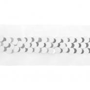 Band, dekorativ, Pailletten, 21543-1101, weiß-silbern
