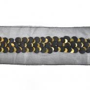 Band, dekorativ, Pailletten, 21543-2100, schwarz-golden