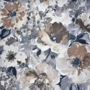 Mikrofaserstoff, floral, 21558-600, grau