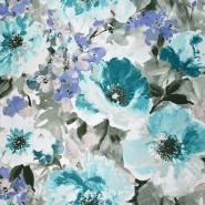 Mikrofaserstoff, floral, 21558-605, türkis