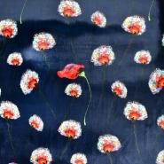 Pliš, poliester, cvetlični, 21845-008, modra