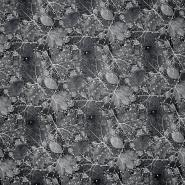 Umetno usnje Flower, 21876-3, črno bela