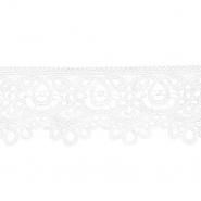 Čipka, 80 mm, ornamentni, 21978-001, bela