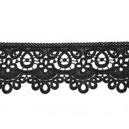 Čipka, 80 mm, ornamentni, 21978-002, črna