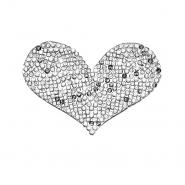 Našitek, srce, 22104-001, srebrna