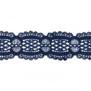 Čipka, 55 mm, ornamentni, 22141-020, modra
