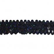 Elastika z bleščicami, 30 mm, 22153-703, črna multicolor