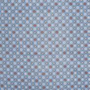 Bombaž, poplin, cvetlični, 22227-4, modra