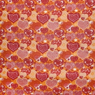 Bombaž, poplin, srčki, 22416-24, oranžna