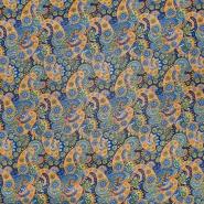 Bombaž, poplin, ornamentni, 22416-27, temno modra