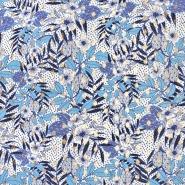 Tkanina, viskoza, cvetlični, 22447-690, modra