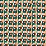 Saten, bombaž, viskoza, geometrijski, 22674-2, zelena
