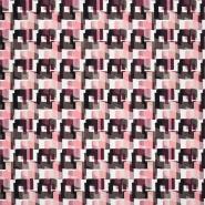 Saten, bombaž, viskoza, geometrijski, 22674-1, roza