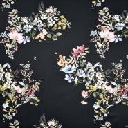 Satin, Baumwolle, floral, 22675-2, schwarz