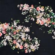 Satin, Baumwolle, floral, 22675-5, schwarz