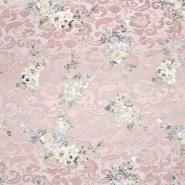 Tkanina, žakard, cvetlični, 22676-11, roza