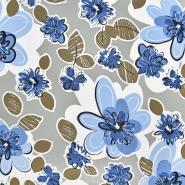 Jersey, viskoza, filamentna, cvetlični, 22686-121, bež-modra