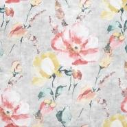 Deko, tisk, cvetlični, 22875-12