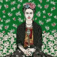 Deko žakard, panel, Frida Kahlo, 22611-1, zelena