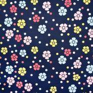Saten, bombaž, cvetlični, 22521-3, temno modra