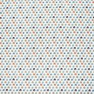 Bombaž, poplin, geometrijski, 22987-3, modra