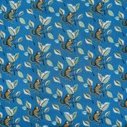 Bombaž, poplin, živalski, 23028-4, modra
