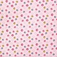 Bombaž, poplin, tisk, 23550, roza