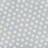 Bombaž, poplin, cvetlični, 23414-016, siva