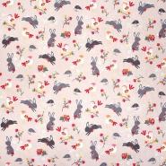 Bombaž, poplin, živalski, 11416-032, roza