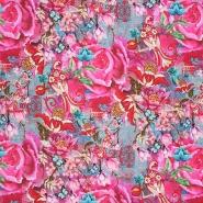 Jersey, bombaž, digital, cvetlični, 24014