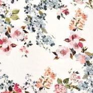 Tkanina, viskoza, cvjetni, 24222-1, krem