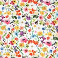Saten, pamuk, digital, cvjetni, 24228-22, ružičasto-žuta