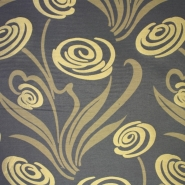 Deco jacquard, flowers, grey/gold, 12599-4811